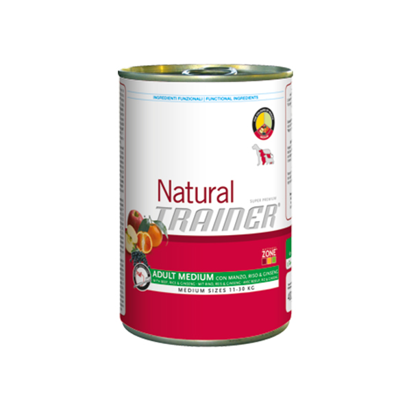 Trainer Natural Adult Medium Vitello, Riso e Ginseng vlažna hrana za odrasle pse srednjih rasa, govedina, pirinač i ginseng