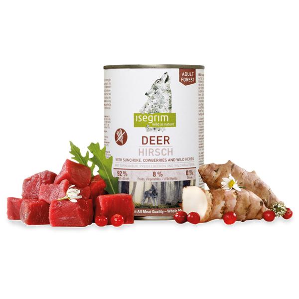 Isegrim Deer vlažna hrana za pse, meso šumskog jelena, sa čičokom, brusnicom i samoniklim biljem