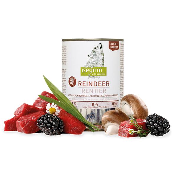 Isegrim Reindeer vlažna hrana za pse, meso šumskog irvasa sa kupinama, pečurkama i samoniklim biljem