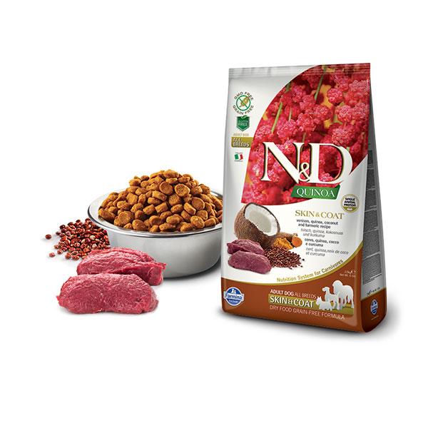 Farmina N&D Grain Free Quinoa Skin&Coat Venison, Cocunut & Curcuma