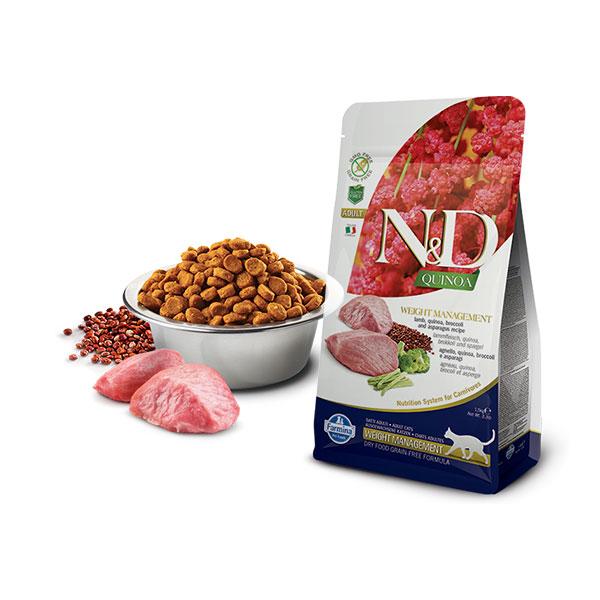 Farmina N&D Grain Free Quinoa Weight Management Lamb, Broccoli & Asparagus hrana za mačke,  jagnjetina, brokoli i špargla | Apetit shop - Online prodaja hrane i opreme za kućne ljubimce