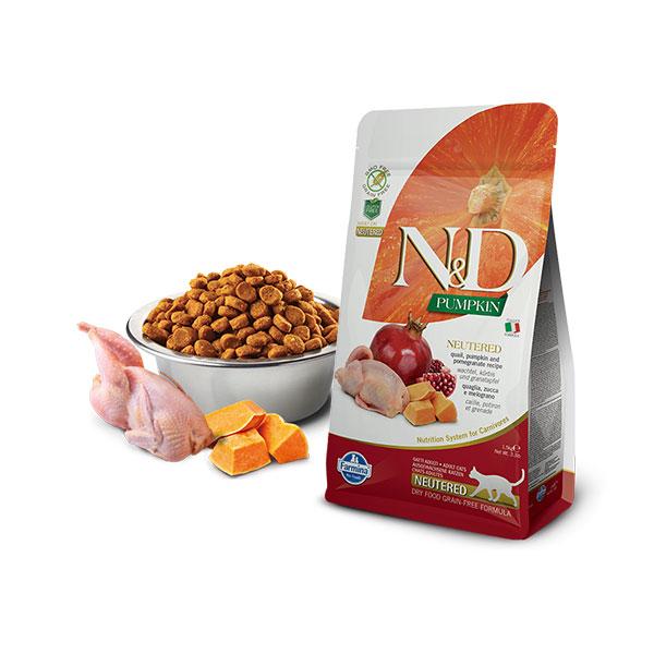 Farmina N&D Grain Free Pumpkin Neutered Quail & Pomegranate hrana za mačke, prepelica, bundeva i nar, za sterilisane mačke   Apetit shop - Online prodaja hrane i opreme za kućne ljubimce