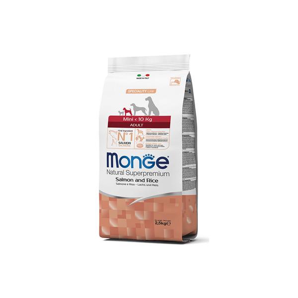 Monge mini adult salmone/riso hrana za odrasle pse malih rasa losos i pirinač