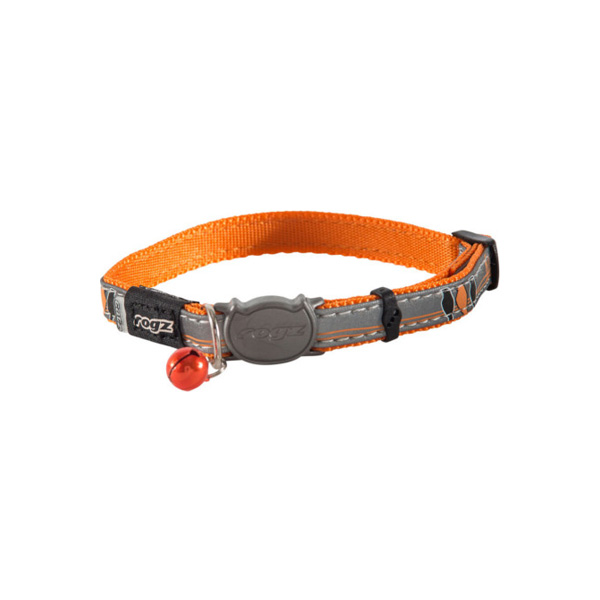 Rogz NightCat Orange Birds on Wire, narandžasta ogrlica za mačke