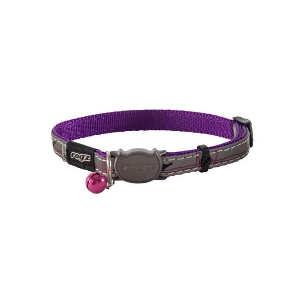Rogz NightCat Purple Budgies, ljubičasta ogrlica za mačke