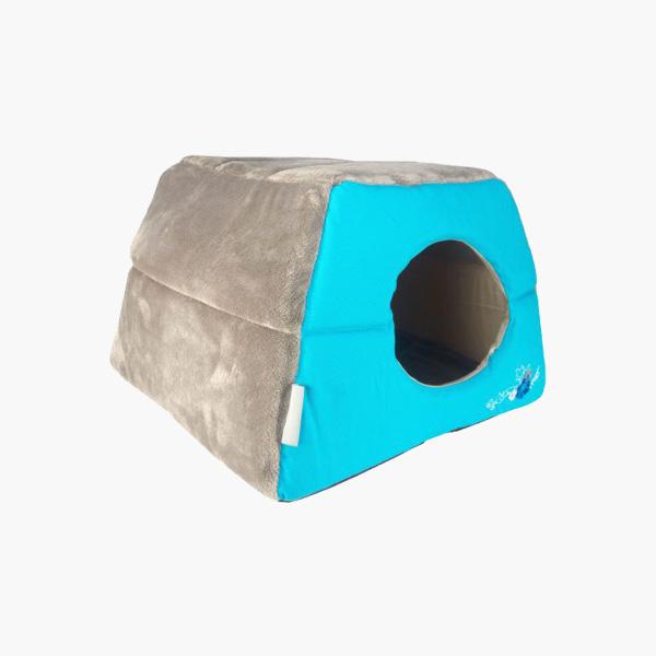 Rogz Catz Igloo Blue Floral, plava kućica za mačke