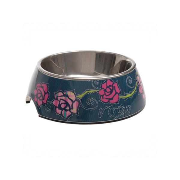 Rogz Bowlz Denim Rose, plava činija za pse sa ružama | Apetit shop - Online prodaja hrane i opreme za kućne ljubimce