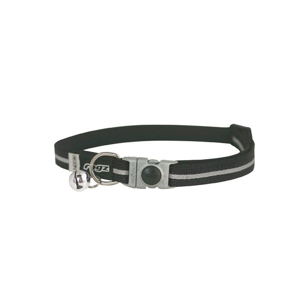 Rogz Safelock Buckle Collar Black, crna ogrlica za mačke