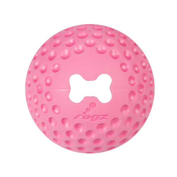 Rogz Loptica za pse, guma, pink