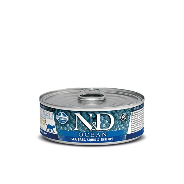 N&D Can Cat Ocean Sea Bass&Squid Shrimps