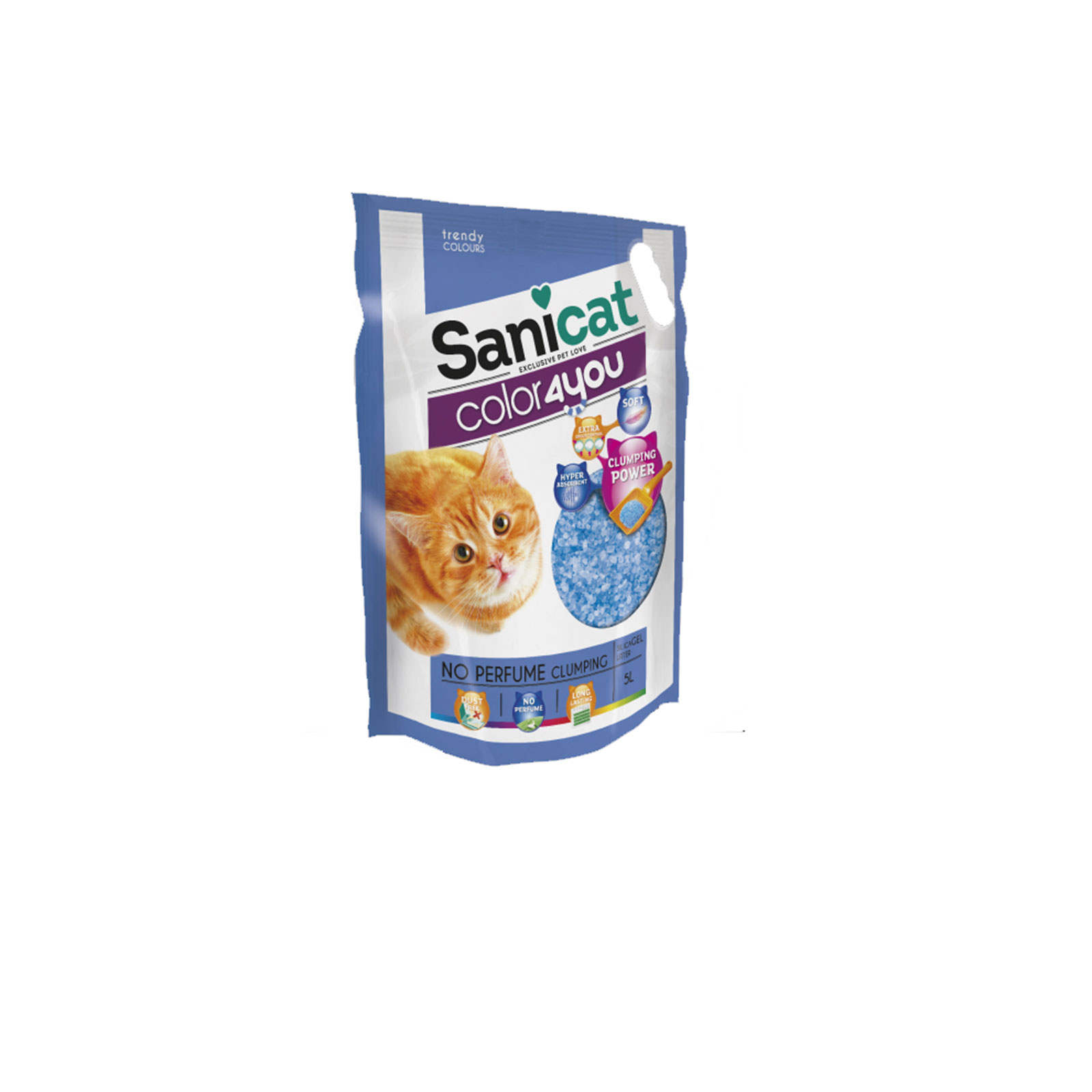 Sanicat - Color 4 you blue - Posip za mačke, silikonski, grudvajći, plavi