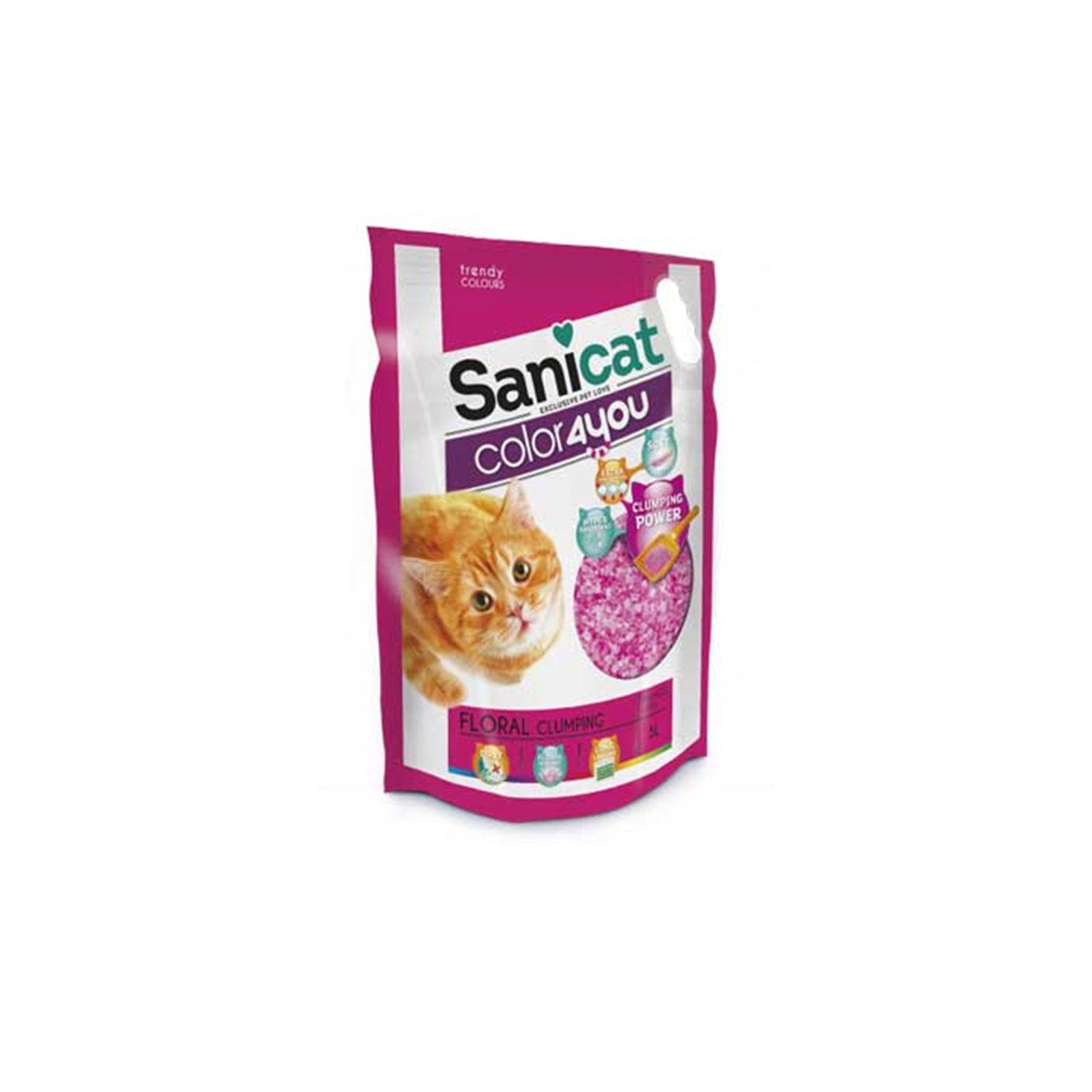 Sanicat - Color 4 you pink - Posip za mačke, silikonski, grudvajući, pink