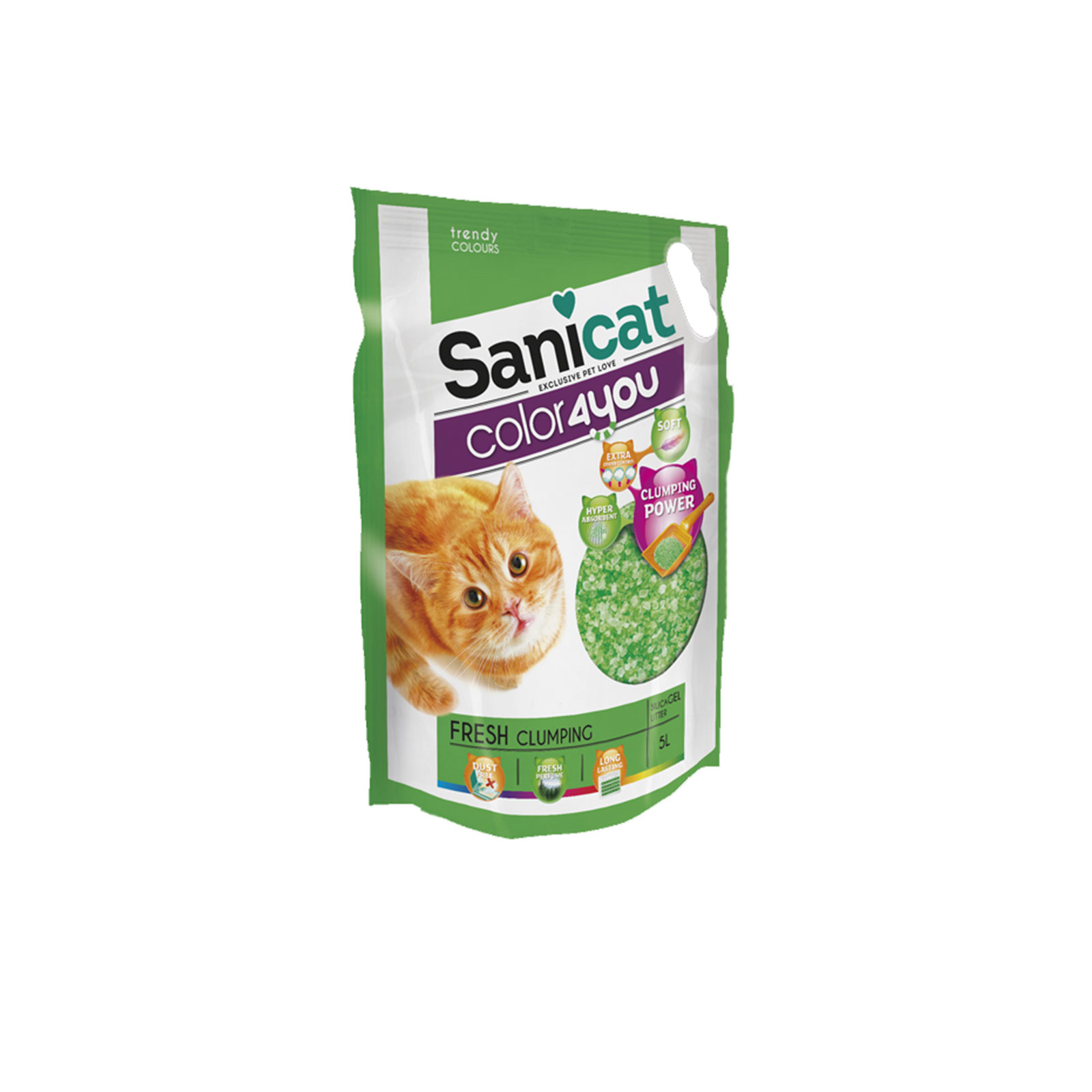 Sanicat - Color 4 you green - Posip za mačke, silikonski, grudvajći, zeleni
