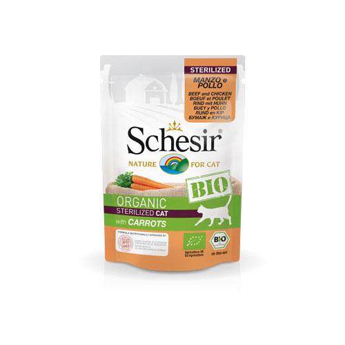 Schesir BIO Organic za sterilicane macke - govedina, piletina,šargarepa