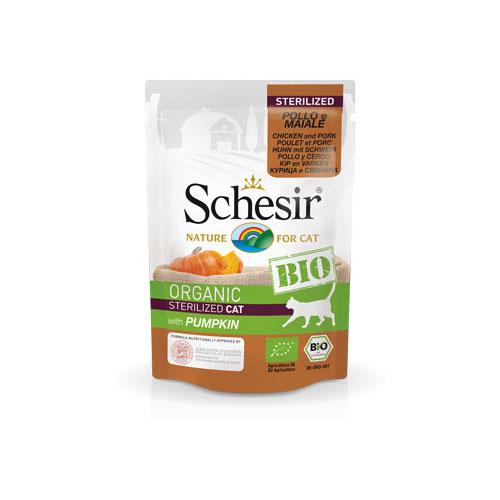 Schesir BIO Organic za sterilicane macke - piletina, svinjetina, bundeva