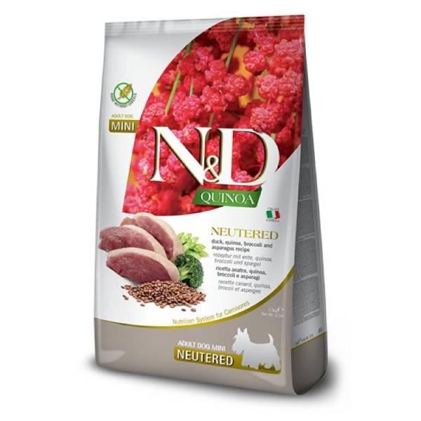 Farmina N&D Quinoa Dog Duck, Broccoli&Asparagus, Neutered Adult Mini