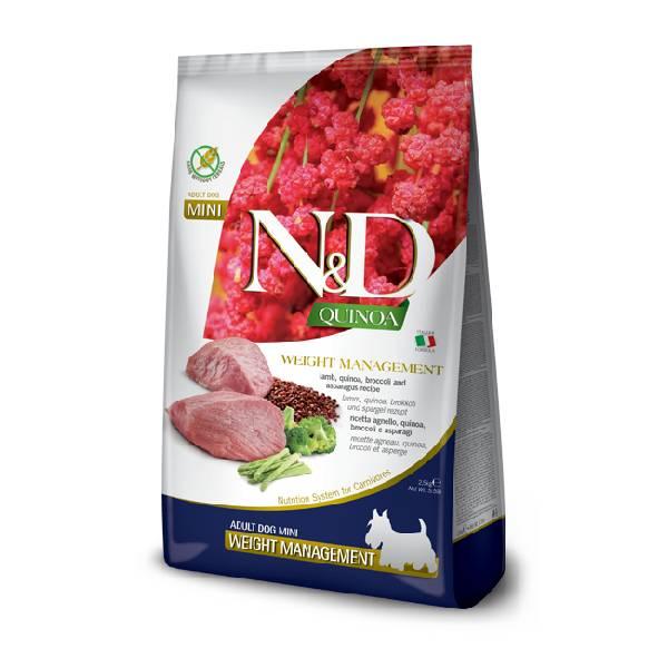 Farmina N&D Grain Free Quinoa Weight Management Lamb, Broccoli & Asparagus Mini