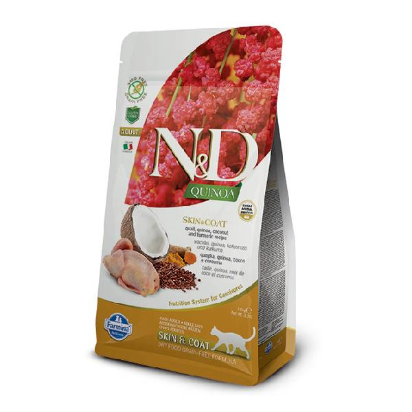 Farmina N&D Grain Free Quinoa Cat Skin&Coat Quail, Cocunut & Curcuma