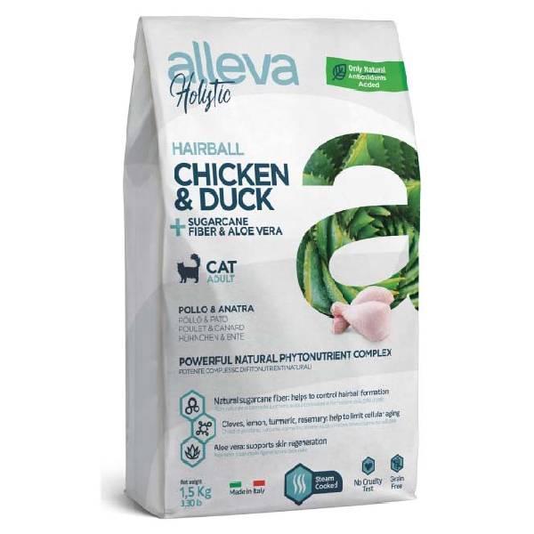 Alleva Holistic Adult Cat Hairball piletina i pačetina sa vlaknima šećerne trske i aloe verom