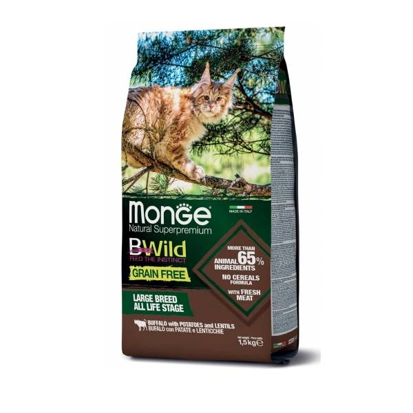 Monge Bwild Cat Grain Free Large Breed All Life Stage Buffalo with Potatoes and Lentils