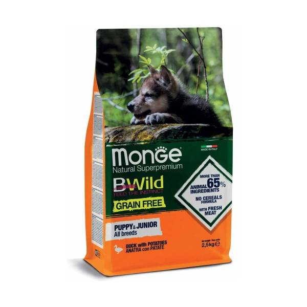 Monge Bwild Grain Free All Breeds Puppy and Junior Duck and Potatoes