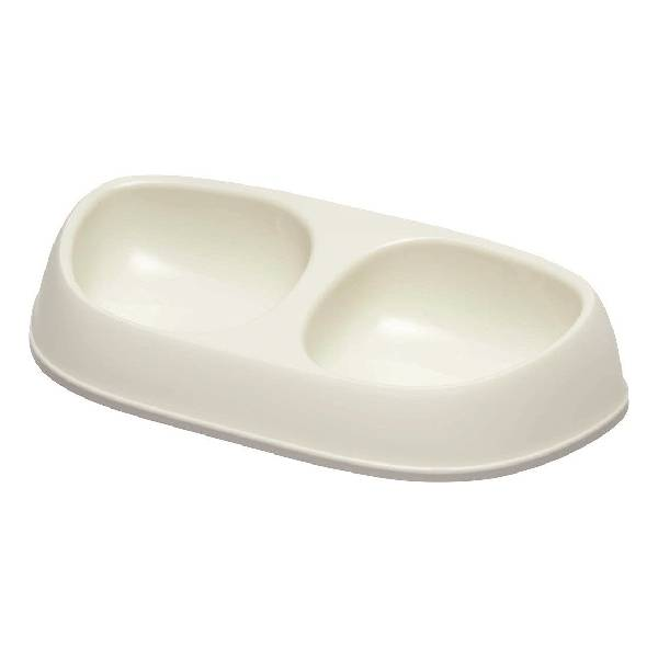 Moderna Sensibowl Soft White Double, dupla posuda za mačke, bela