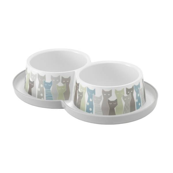 Moderna Trendy Dinner Double Cat Maasai Grey White, činija za mace