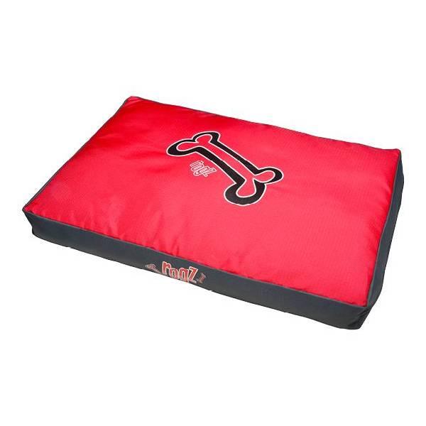 Rogz Flat Bed Red Bone, crvena ležaljka za pse sa koskama