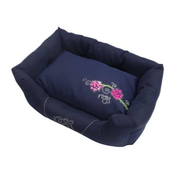 Rogz Spice Pod Denim Rose, plavi krevet za pse sa ružama